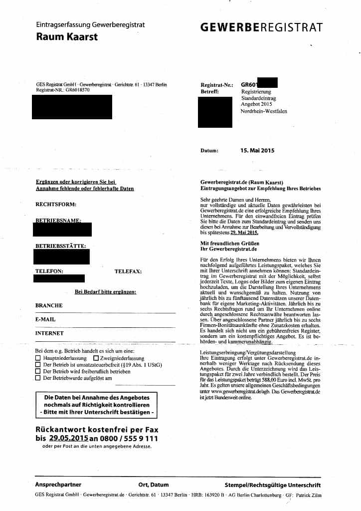 GES Registrat GmbH Gewerberegistrat Abzocke