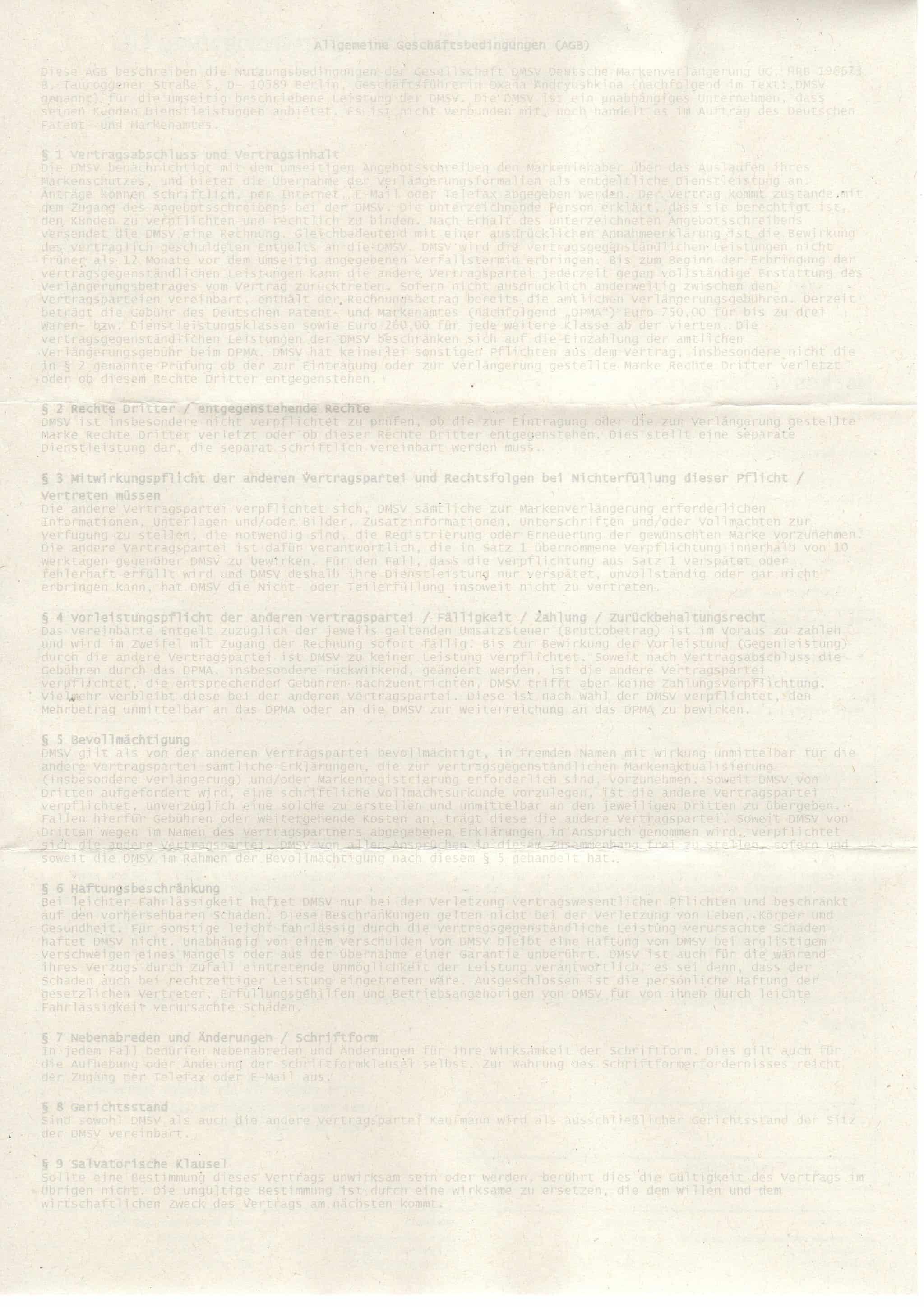 AGB der DMSV Deutsche Markenschutzverlängerung UG